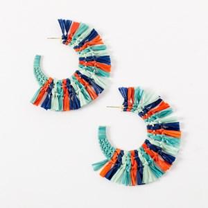 Basket Weave Raffia Hoop Earrings