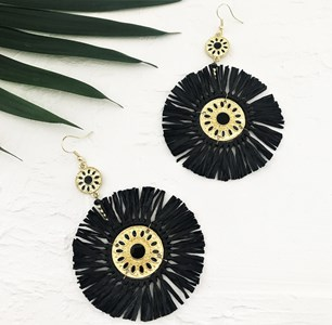 Medallion Centre Rafffia Hook Earrings