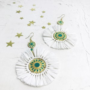 Medallion Centre Raffia Hook Earrings