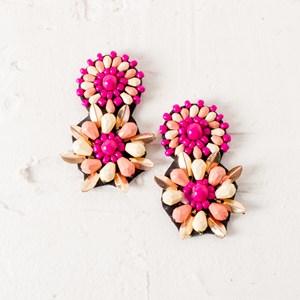 Beaded Floral Drop Stud Earrings