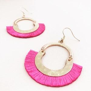 Mini Curved Top Fringe Hook Earrings