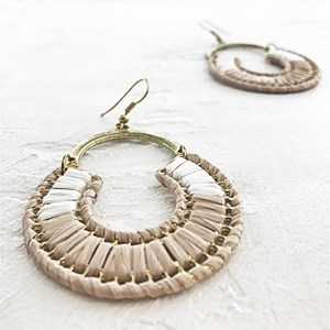 Circle Weave Curved Top Hook Earrings