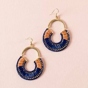 Circle Weave Curved Top Hook Earrings