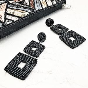 Beaded Squares Stud Earrings