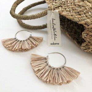 Lurex Detail Paper Fringe Earrings