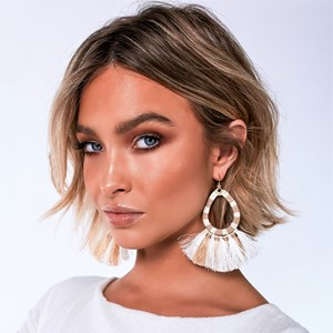 Fringe Edge Teardrop Hook Earrings