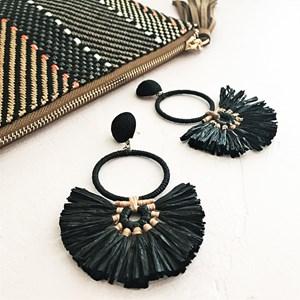 Paper Ring & Fringe Stud Earrings