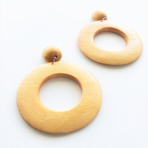 Cut Out Timber Circle Earrings