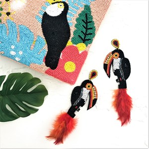Feather Toucan Beaded Statement Earring
