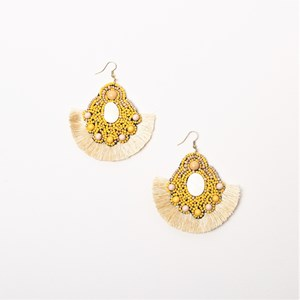 Beaded Fringe Hook Earrings