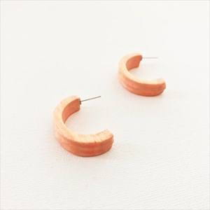 Curved Front Timber Earrings
