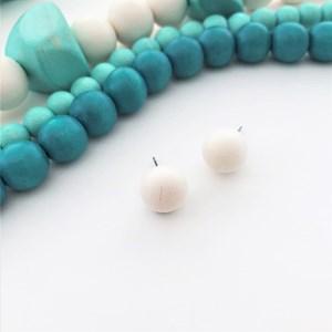 Small Timber Ball Stud Earrings