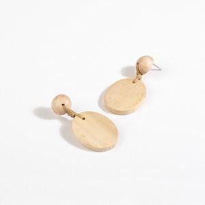 Oval Drop Timber Earrings