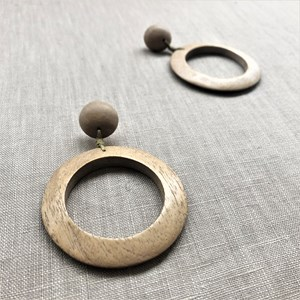 Timber Ring Button Stud Earrings