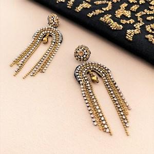 Diamante Beaded Arch Earrings