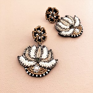 Floral Emblem Beaded Earrings