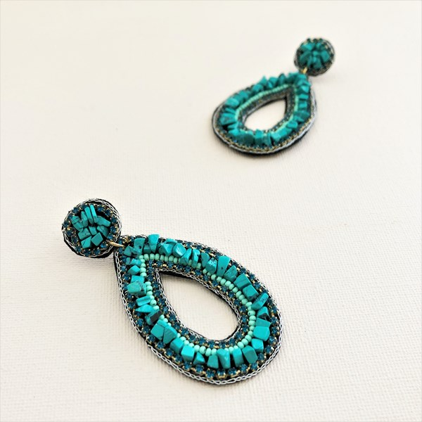 Azure Beaded Cut Out Earrings