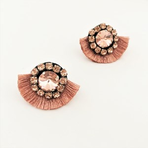 Mini Jewelled Cotton Fringe Earrings
