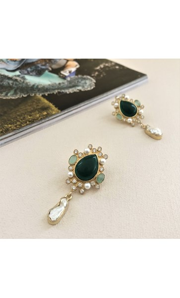 Victorian Gemstone Pearl Drop Earrings
