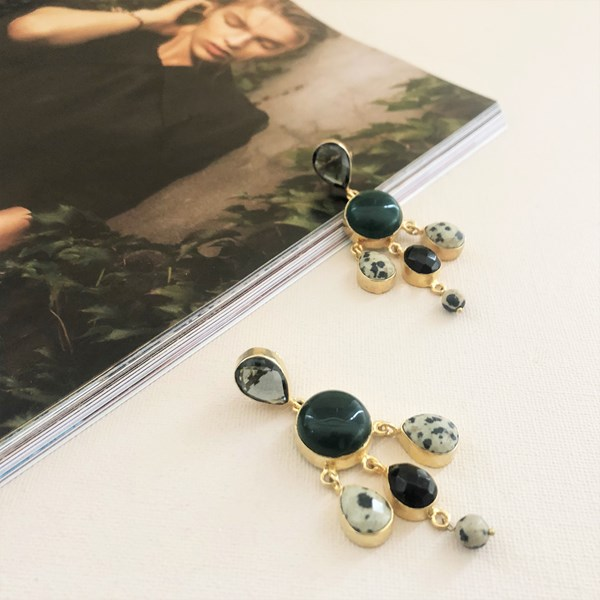 Charli Tiered Gemstone Drops Earrings