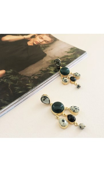 Charli Tiered Gemstone Drops Earrings