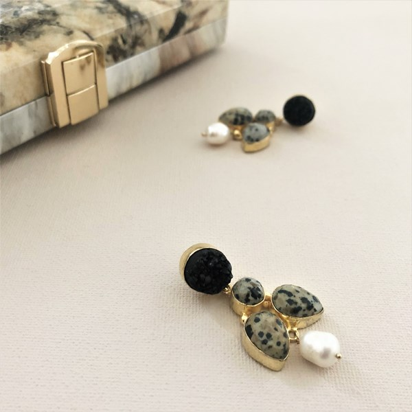Jasper Dalmation Stone Drop Earrings