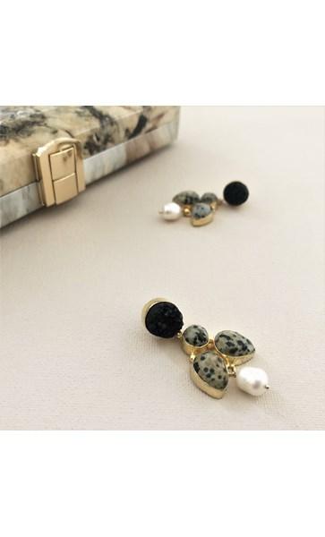 Jasper Dalmation Stone Drop Earrings