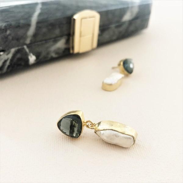 Edie Baroque Pearl Glass Top Earrings