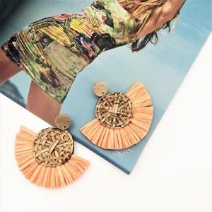 Weave Fringe Timber Top Earrings