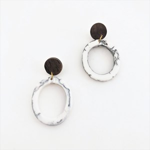 Resin Circle Timber Top Earrings