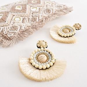 Beaded Top Fringe Earrings