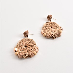 Bead Edged Natural Weave Earrings