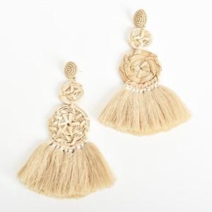 Natural Weave Fringe Earrings