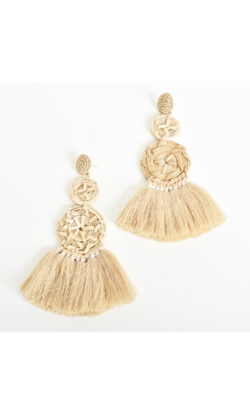 Natural Weave Fringe Earrings