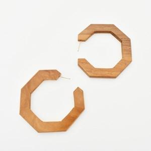 Hexagonal Timber Hoop Earrings