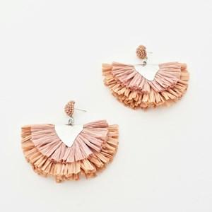 Raffia Layered Fringe Earrings