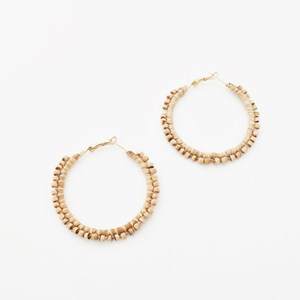 Timber Bead Hoop Earrings