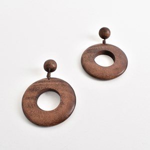 Smooth Timber Ring Earrings