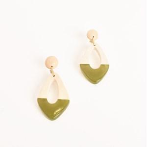 Resin Timber Tri Shape Earrings