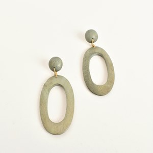 Oval Ring Drop Timber Earrings