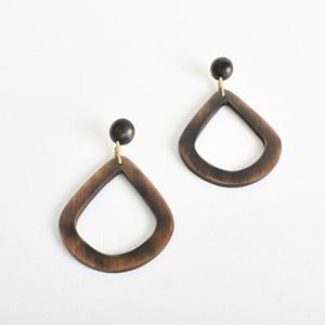 Teardrop Timber Button Top Earrings