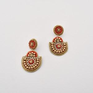 Beaded Curved Drop Earrings