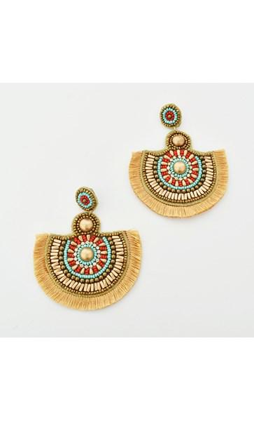 Fringe Beaded Statement Earrings