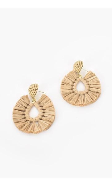 Viva Raffia Beaded Top Earrings