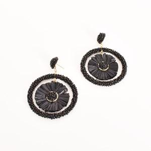 Lola Raffia Centre Bead Ring Earrings