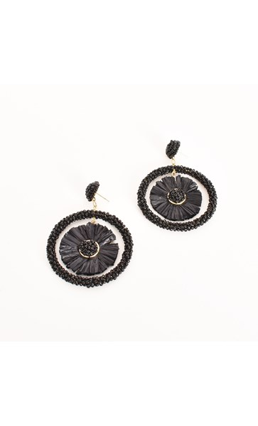 Lola Raffia Centre Bead Ring Earrings