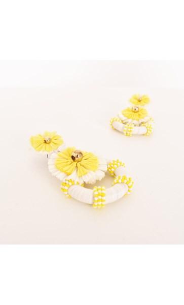 Jenna Raffia Floral Ring Drop Earrings