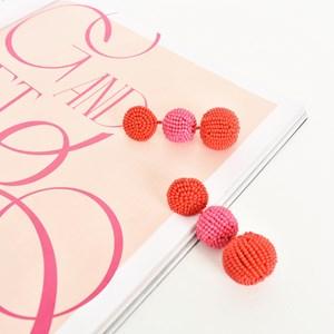 Lila Beaded Ball Drop Earrings