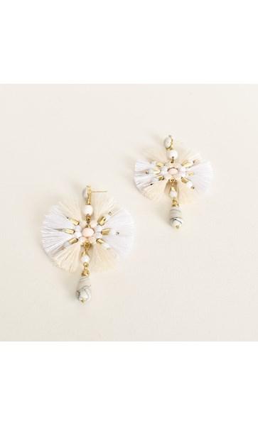 Avery Raffia Ring Bead Drop Earrings