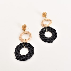Bead Top Rattan Rings Earrings